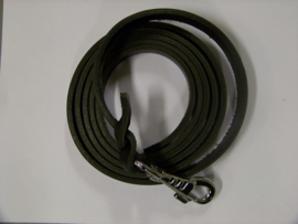 Leather leash 18mm x ca 2,20m chrome plated hook