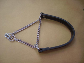Leather collar with chain 3cm