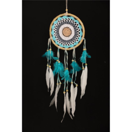 Dromenvanger gehaakt rotan, turkoois wit, diameter ring 16 cm