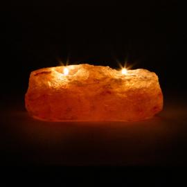 Zoutkristal sfeerlicht, 2 waxinelichtjes