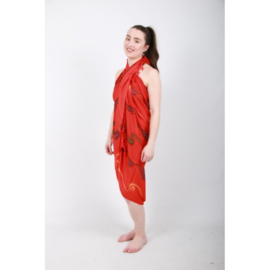 Sarong / Pareo, Rood met groene & paarse details