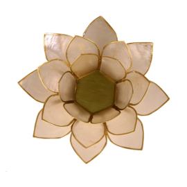 Lotus sfeerlicht naturel (7e chakra) met goudrand