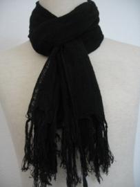 Sjaal Viscose zwart met franje