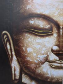 Boeddha schilderij bruin - sepia 30 x 40 cm
