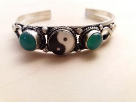 Armband Tibetaans Silver, Turkoois en yin yang teken