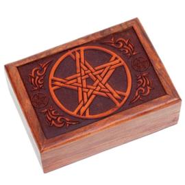 Tarotdoos Pentagram gegraveerd