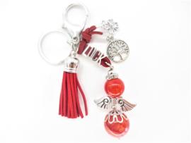 "Engel van rode Agaat sleutelhanger ""Luck"" (Tassenhanger)"