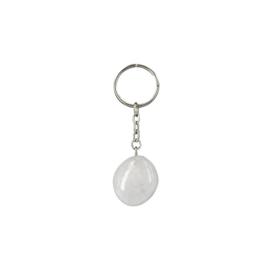 Bergkristal trommelsteen sleutelhanger / tassenhanger