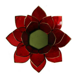 Lotus sfeerlicht rood (1e chakra) met goudrand