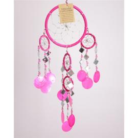 Dromenvanger met schelpen en spiegeltjes, 11 cm, roze