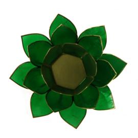 Lotus sfeerlicht groen (4e chakra) met goudrand