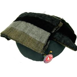Meditatie omslagdoek zwart met grijze strepen