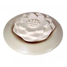 Geursteen Lotus wit met wit onderschaaltje