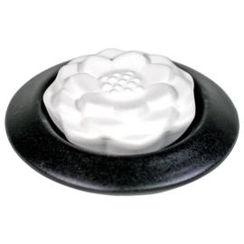 Geursteen Lotus wit met zwart onderschaaltje