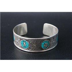 Armband Tibetaans Silver met Mantra en Turkoois
