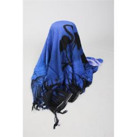 Sarong / Pareo Flamingo blauw, wit, zwart
