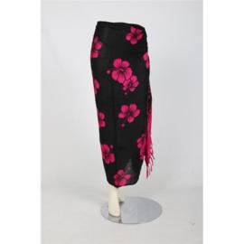 Sarong / Pareo Bloemen Donkerroze met zwart