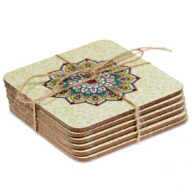 Mandala onderzetters groen, set van 6