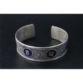 Armband Tibetaans Silver Mantra met Lapis Lazuli