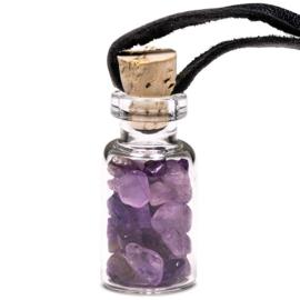 Glazen geschenkflesje aan waxkoord met Amethist