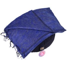 Meditatie omslagdoek effen donkerblauw