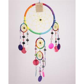 Dromenvanger met schelpen en spiegeltjes, 17 cm, Regenboogkleuren