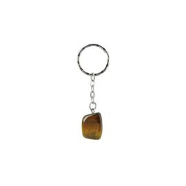 Tijgeroog trommelsteen sleutelhanger / tassenhanger