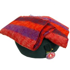Meditatie omslagdoek paars met rode strepen