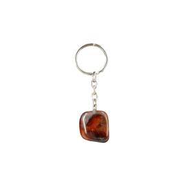 Carneool trommelsteen sleutelhanger / tassenhanger