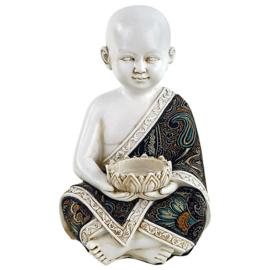 Shaolin Monnik met waxinelichthouder, 19 cm
