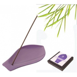 YUKARI wierookbrander keramiek violet lotusblad