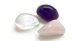 Gouden Driehoek setje - Amethist, Rozekwarts, Bergkristal