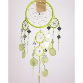 Dromenvanger met schelpen en spiegeltjes, 11 cm, lime groen