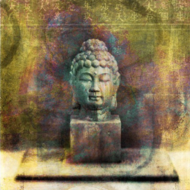 Vierkante kaart Boeddha, 14 x 14 cm