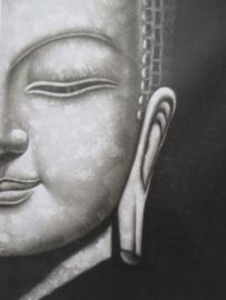 Boeddha schilderij grijstinten  30 x 40 cm