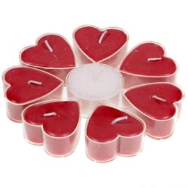 Stearine geurkaarsjes hartvormig Fair Trade, Roos