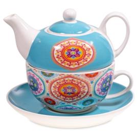 Theeset Tea for One Mandala Blauw