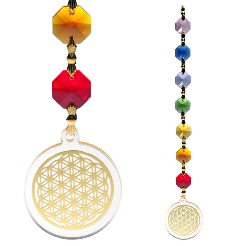 Feng Shui Bloem des Levens Raamkristal goudkleurig