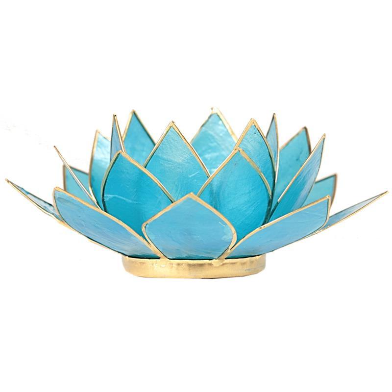 Lotus sfeerlicht blauw (5e chakra) met goudrand