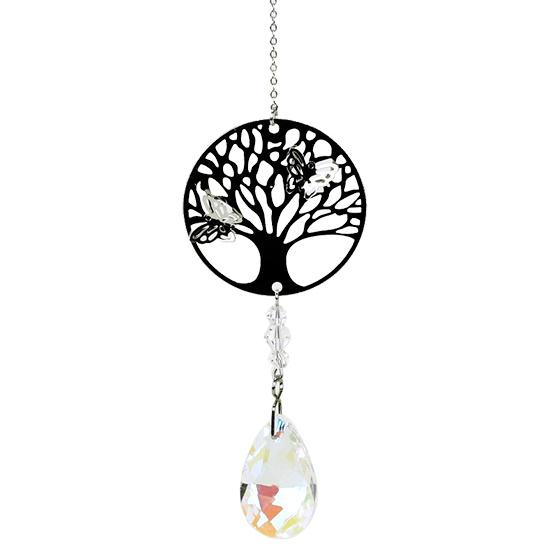 Tree of Life raamhanger met vlinders en druppel kristal