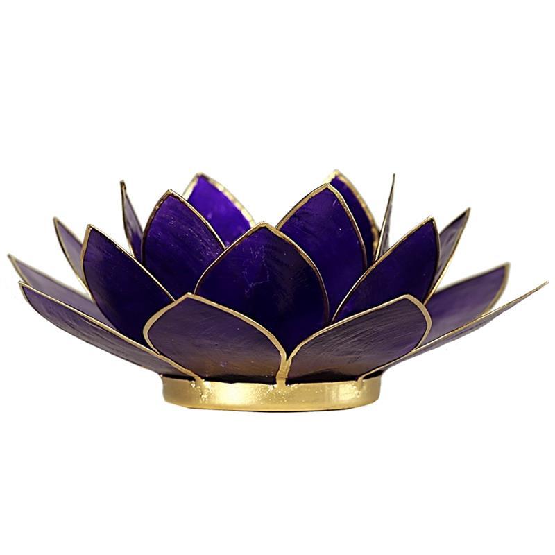 Lotus sfeerlicht violet (7e chakra) met goudrand