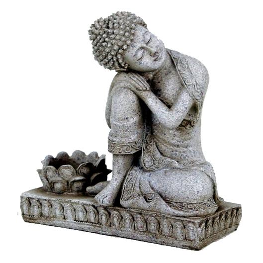 Rustende Boeddha met kaarshouder, 17 cm.