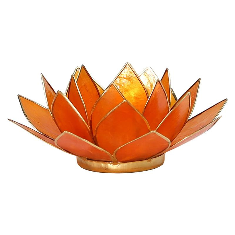 Lotus sfeerlicht oranje (2e chakra) met goudrand