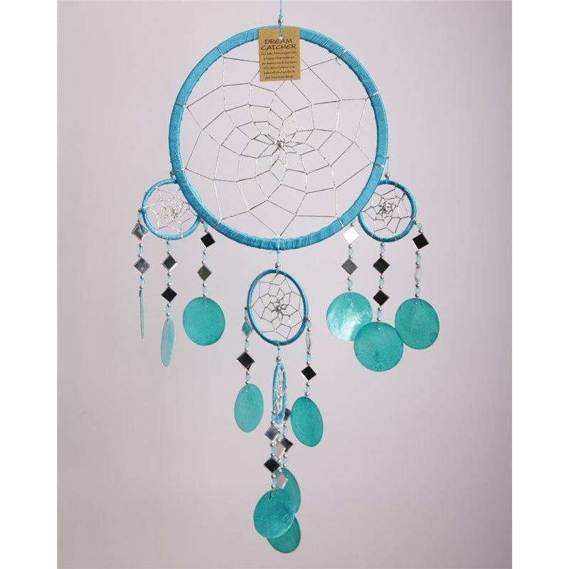 Dromenvanger met schelpen en spiegeltjes, 22 cm, Turquoise blauw