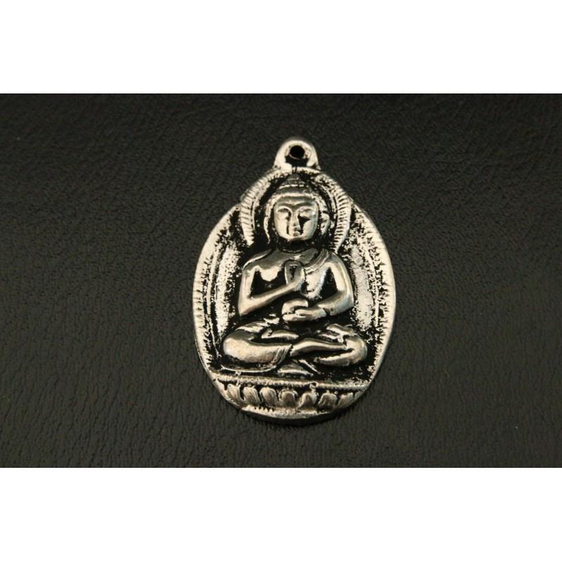 Boeddha hanger, 5 cm, zilverkleurig