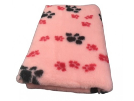 pet bed anti slip salmon with red and black paws