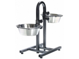 Adjustable Feeding Stand + 2 Stainless Steel Bins 25cm
