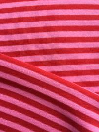 Boordstof rood/roze gestreept