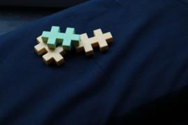 Uni donkerblauw- tricot stof