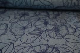 Denimflower blue- modalsweat stof